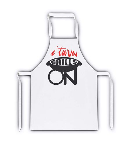 I Turn Grills On Funny White Apron
